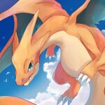 bird charizard claws closed_mouth clouds commentary_request day fang fang_out flying gen_1_pokemon goma_(nabepa_nabepa) green_eyes highres mega_charizard_y mega_pokemon no_humans outdoors pokemon pokemon_(creature) sky solo