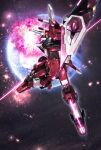 absurdres beam_saber earth explosion glowing glowing_eye green_eyes gundam gundam_seed gundam_seed_destiny highres holding holding_sword holding_weapon infinite_justice_gundam looking_down mecha mechanical_wings no_humans planet science_fiction shield solo space sword tom_liu v-fin weapon wings