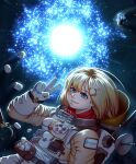 1girl absurdres astronaut blonde_hair bloop_(gawr_gura) blue_eyes bubba_(watson_amelia) copyright_name death-sensei_(mori_calliope) floating food highres hololive hololive_english holomyth jetleck logo looking_at_viewer marshmallow medium_hair outer_wilds red_scarf scarf science_fiction smile solo space spacesuit sun tako_(ninomae_ina'nis) v virtual_youtuber watson_amelia