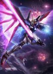 absurdres destiny_gundam earth energy_sword energy_wings explosion glowing glowing_hand green_eyes gundam gundam_seed gundam_seed_destiny highres holding holding_sword holding_weapon huge_filesize looking_down mecha mechanical_wings minerva_(gundam) no_humans open_hand planet science_fiction solo space_craft sword tom_liu v-fin weapon wings