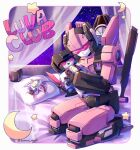 1girl crescent decepticon holding holding_stuffed_toy kyarara_renan looking_down lunaclub mecha night night_sky on_bed pillow pink_eyes seiza sitting sky solo star_(sky) star_(symbol) starry_sky starscream stuffed_toy transformers visor