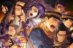 1girl 6+boys ainu ainu_clothes arisaka arm_up asirpa bandana black_background black_eyes black_hair black_headwear blue_eyes blue_gloves blue_jacket bolt_action bow_(weapon) brown_cloak buzz_cut clenched_teeth cloak facial_hair fur_trim gloves golden_kamuy gradient gradient_background grey_hair gun hair_slicked_back hand_on_own_head hat highres holding holding_bow_(weapon) holding_gun holding_weapon imperial_japanese_army jacket kepi kiroranke koito_otonoshin looking_at_viewer looking_away military military_hat military_uniform mouth_hold multiple_boys ogata_hyakunosuke open_mouth oziozi_kamuy pipe profile purple_bandana purple_hair purple_jacket rifle scar scar_on_cheek scar_on_face scarf shiraishi_yoshitake short_hair sideburns stubble sugimoto_saichi sweatdrop tanigaki_genjirou teeth tsukishima_hajime tsurime uniform upper_body v-shaped_eyebrows very_short_hair weapon white_cloak wide_sleeves yellow_background yellow_eyes yellow_scarf