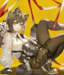 1girl absurdres animal animal_ears arknights arm_support artist_name black_gloves black_legwear brown_hair brown_shorts buttons chinese_commentary commentary gloves highres knees_up koi_han leaning_back leg_up legwear_under_shorts long_hair looking_at_viewer pantyhose petting raccoon raccoon_ears raccoon_girl raccoon_tail ribbon robin_(arknights) shirt shorts skindentation solo squatting tail tied_hair white_shirt yellow_background yellow_eyes