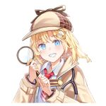 1girl bangs blonde_hair blue_eyes blush breasts brown_jacket cchhii3 collared_shirt commentary deerstalker detective grin hair_ornament hat holding holding_magnifying_glass hololive hololive_english jacket letterboxed long_sleeves looking_at_viewer magnifying_glass medium_hair monocle_hair_ornament necktie red_neckwear shirt short_necktie simple_background smile solo upper_body virtual_youtuber watson_amelia white_background white_shirt