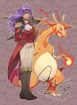 1boy alternate_costume bangs blue_flower boots brown_footwear buttons charizard closed_mouth commentary_request cravat epaulettes facial_hair fire flame flower gen_1_pokemon grey_pants hat holding holding_clothes holding_hat legs_together leon_(pokemon) long_hair male_focus medal pants pokemon pokemon_(creature) pokemon_(game) pokemon_swsh purple_hair sasairebun shiny shiny_hair signature smile standing tailcoat white_neckwear yellow_eyes