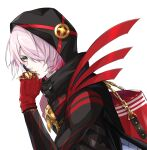 1boy alternate_hair_color black_coat brass_knuckles coat colored_skin eyeshadow fate/grand_order fate_(series) gloves gradient_hair green_eyes hair_over_one_eye highres hood hood_up karna_(fate) karna_(santa)_(fate) looking_at_viewer makeup male_focus multicolored_hair okuno_naru_(exoprsa) pink_hair red_gloves short_hair solo tsurime upper_body weapon white_skin