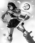 1girl alternate_costume android black_hair black_skirt breasts copyright_name crossover dagger dual_wielding english_commentary floating_hair gally gloves grey_gloves greyscale gunnm highres holding holding_dagger holding_weapon kimetsu_no_yaiba leadapprentice logo_parody mechanical_arms mechanical_legs medium_breasts monochrome short_hair skirt smile solo weapon