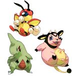 :d commentary cow creature english_commentary full_body gen_2_pokemon horns larvitar ledian looking_at_viewer miltank no_humans open_mouth pinkgermy pokemon pokemon_(creature) signature single_horn smile standing transparent_background