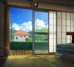cumulonimbus_cloud day futon hedge_(plant) karanagi no_humans original scenery sliding_doors tatami utility_pole