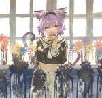 1girl absurdres animal_ears arm_behind_back blurry blush brown_flower brown_shirt cat_ears cat_tail covered_mouth cowboy_shot crop_top day depth_of_field dust_particles eyelashes flower hairband half-closed_eyes highres holding holding_flower hololive indoors jar navel neckerchief nekomata_okayu purple_hair rin31153336 sailor_collar shirt shorts smelling_flower solo symbolism tail vase violet_eyes white_shorts window