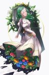 1girl artist_name closed_eyes coffin dress fire_emblem fire_emblem:_three_houses flower green_hair highres long_hair long_sleeves lunachaili parted_lips simple_background sitri_(fire_emblem) solo white_background white_dress