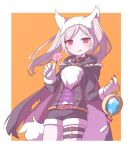 1girl animal_ears belt candy fire_emblem fire_emblem_awakening fire_emblem_heroes food fur_trim gloves grima_(fire_emblem) halloween_costume highres holding licking_lips lollipop long_sleeves mugimaru_(user_rdve5552) orange_background paw_gloves paws red_eyes robin_(fire_emblem) shorts simple_background solo tail thigh_strap tongue tongue_out twintails white_hair wolf_ears wolf_tail