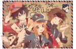 1girl 2boys alternate_costume bird black_hair border brown_background brown_hair commentary_request double_bun english_text flying gen_1_pokemon gen_5_pokemon happy hat hatted_pokemon heart hugh_(pokemon) long_sleeves looking_at_viewer multiple_boys namie-kun nate_(pokemon) necktie one_eye_closed pidove pikachu pokemon pokemon_(game) pokemon_bw2 rosa_(pokemon) signature simple_background star_(symbol) striped_border tongue tongue_out twintails upper_body