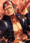 1boy abs bandana belt billy_kane blonde_hair fatal_fury fire frown hungry_clicker jacket muscular muscular_male pants scowl snk solo staff the_king_of_fighters traditional_media weapon