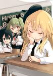 3girls anchovy_(girls_und_panzer) anzio_school_uniform bangs barashiya beret birthday birthday_cake black_cape black_eyes black_hair black_headwear black_neckwear black_skirt blonde_hair blurry blurry_background braid cake cape carpaccio_(girls_und_panzer) chair chalkboard classroom closed_eyes closed_mouth commentary depth_of_field desk dress_shirt drill_hair emblem english_text eyebrows_visible_through_hair food girls_und_panzer green_hair happy_birthday hat head_rest highres holding holding_food indoors long_hair long_sleeves looking_at_another miniskirt multiple_girls necktie open_mouth pantyhose party_popper pepperoni_(girls_und_panzer) red_eyes school_chair school_desk school_uniform shirt short_hair side_braid sitting skirt smile standing twin_drills twintails white_legwear white_shirt wing_collar