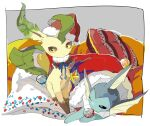 apios1 bauble black_sclera blue_neckwear blue_ribbon blush border brown_eyes christmas christmas_stocking closed_mouth clothed_pokemon commentary_request cushion fur-trimmed_headwear fur_trim gen_1_pokemon gen_4_pokemon half-closed_eye hat holly leafeon light_blush looking_at_another neck_ribbon no_humans outside_border pillow pinecone pokemon pokemon_(creature) pom_pom_(clothes) red_headwear ribbon santa_hat sitting star_(symbol) vaporeon white_border white_eyes yellow_sclera