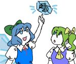 2girls :o blue_dress blue_eyes blue_hair bow breasts character_request cirno collared_shirt colored_skin drawfag dress dress_shirt eyebrows_visible_through_hair frog green_bow green_hair hair_bow hair_ornament ice ice_wings looking_up medium_hair multiple_girls neck_ribbon neckerchief open_mouth pointing pointing_up ponytail puffy_short_sleeves puffy_sleeves raised_eyebrows red_neckwear ribbon shirt short_hair short_sleeves side_ponytail simple_background small_breasts solid_circle_eyes touhou white_background white_shirt white_skin wings yellow_bow yellow_neckwear