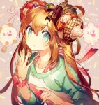 1girl blue_eyes brown_hair closed_mouth commentary_request creature double_bun gen_6_pokemon hair_between_eyes hair_ornament happy long_hair looking_at_viewer namie-kun one_eye_closed pink_background pokemon pokemon_(creature) pokemon_(game) pokemon_bw2 rosa_(pokemon) simple_background smile swirlix tongue tongue_out twintails upper_body