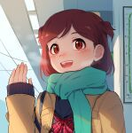 1girl :d aoba_misaki blue_scarf bow brown_hair coat hand_up idolmaster idolmaster_million_live! idolmaster_million_live!_theater_days indoors kamille_(vcx68) open_mouth power_lines red_bow red_eyes scarf short_hair smile solo