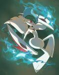 commentary creature english_commentary frown full_body gallade gen_4_pokemon grey_background mega_gallade mega_pokemon no_humans pink_eyes pinkgermy pokemon pokemon_(creature) simple_background solo