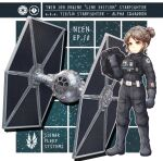 1girl boots brown_eyes brown_hair clenched_hand eyebrows_visible_through_hair galactic_empire hair_behind_ear hair_bun helmet holding holding_helmet nosh science_fiction smile space_craft standing star_wars starfighter tie_fighter tie_pilot