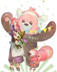 1girl ^_^ bear bewear black_eyes character_request closed_eyes commentary_request crossover gen_7_pokemon green_eyes heart holding long_hair namie-kun open_arms pink_hair pokemon pokemon_(creature) sandals simple_background standing white_background