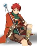 1boy bandages boots buckle cape eyebrows_visible_through_hair fingerless_gloves fire_emblem fire_emblem:_path_of_radiance fire_emblem:_radiant_dawn gloves highres holding holding_weapon hood knife looking_to_the_side male_focus red_eyes redhead shorts staff tormod_(fire_emblem) weapon yusya6_fe