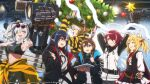 6+girls abs amiya_(arknights) animal_ears arknights ascot bear_ears bear_girl beehunter_(arknights) black_hair black_jacket blonde_hair brown_hair carrying christmas christmas_ornaments christmas_tree closed_eyes closure_(arknights) clothes_around_waist commentary_request energy_wings english_text exusiai_(arknights) feater_(arknights) frilled_ascot frills grey_hair halo hood hooded_jacket jacket jacket_around_waist jewelry multiple_girls multiple_rings navel neck_ring official_art open_clothes open_jacket pointy_ears power_fist rabbit_ears rabbit_girl redhead ring smile sora_(arknights) studio studio_lights tablet_pc thumb_ring vampire wolf_ears wolf_girl