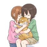 2girls animal brown_hair closed_eyes dog girls_und_panzer holding holding_animal hug kiss multiple_girls mutsu_(layergreen) nishizumi_maho nishizumi_miho orange_hair shiba_inu short_hair short_shorts shorts siblings sisters sitting white_background younger