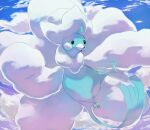 altaria bird black_eyes blue_sky clouds cloudy_sky commentary creature day english_commentary flying full_body gen_3_pokemon looking_at_viewer mega_altaria mega_pokemon no_humans outdoors pinkgermy pokemon pokemon_(creature) sky solo