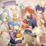 birthday_cake birthday_party black_hair blue_eyes blue_hair brown_eyes brown_hair cake character_request chef_hat commentary_request creature crossover dog food furfrou furfrou_(normal) gen_5_pokemon gen_6_pokemon happy_birthday hat holding holding_pokemon hugh_(pokemon) looking_at_viewer mask namie-kun nate_(pokemon) necktie one_eye_closed party pokemon pokemon_(creature) pokemon_(game) pokemon_bw2 ponytail signature simple_background spiky_hair star_(symbol) sweatdrop tagme tepig tied_hair tongue tongue_out white_background