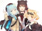3girls ?? animal_ears arknights arm_up arms_up badge barrette bear_ears beige_cardigan beret black_headwear black_jacket blonde_hair blue_dress blue_eyes blue_hair blue_nails blue_neckwear blue_skirt blush braid brown_hair brown_jacket brown_skirt candy candy_hair_ornament cardigan choker commentary dress eyebrows_visible_through_hair eyewear_on_head food food_themed_hair_ornament gao gummy_(arknights) hair_ornament hat holding holding_candy holding_food holding_lollipop istina_(arknights) jacket leaning_forward lollipop looking_at_viewer medium_hair monocle multicolored_hair multiple_girls nail_polish necktie one-piece_swimsuit one_eye_closed open_clothes open_jacket open_mouth pleated_skirt red_nails red_neckwear sailor_collar sailor_one-piece_swimsuit shirt skirt sparkle standing star_(symbol) strap streaked_hair sunglasses swimsuit swirl_lollipop tied_hair tongue tongue_out toufu_mentaru_zabuton twintails twitter_username upper_body v white_background white_sailor_collar white_shirt yellow_nails zima_(arknights)