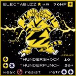arms_up black_background character_name claws commentary creature electabuzz electricity english_text fangs full_body gen_1_pokemon highres no_humans pixel_art pokemon pokemon_(creature) pokemon_trading_card_game silphwave simple_background solo standing star_(symbol)