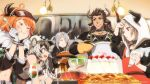 1boy 4girls animal_ear_fluff animal_ears apron arknights armband blush broken_horn cake christmas cliffheart_(arknights) closed_eyes commentary_request cookie cow_boy cow_girl cow_horns cream croissant_(arknights) cup drinking_glass earrings eating english_text food fruit funnel hat horns jewelry kitchen leopard_ears leopard_girl matterhorn_(arknights) mittens multiple_girls navel official_art oven_mitts pie pot rabbit_ears rabbit_girl salad salad_bowl savage_(arknights) scar scar_across_eye smile spoon strawberry tray vulcan_(arknights) wine_glass