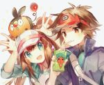 1boy 1girl :d blue_eyes brown_hair commentary_request double_bun drinking drinking_straw furrowed_eyebrows gen_5_pokemon long_hair namie-kun nate_(pokemon) on_head open_mouth pokemon pokemon_(creature) pokemon_(game) pokemon_bw2 pokemon_on_head rosa_(pokemon) simple_background smile tepig twintails upper_body white_background
