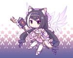 >:) 1girl animal_ear_fluff animal_ears bare_shoulders black_hair blue_hairband book cat_ears cat_girl cat_tail chibi closed_mouth commentary_request detached_sleeves detached_wings frilled_skirt frills full_body green_eyes hairband holding holding_staff karyl_(princess_connect!) langbazi long_hair long_sleeves looking_at_viewer pink_skirt princess_connect! princess_connect!_re:dive ringlets skirt smile solo staff starry_background strapless tail twintails v-shaped_eyebrows very_long_hair white_background white_sleeves wide_sleeves wings