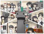 6+girls absurdres ahoge akashi_(kantai_collection) bangs black_hair blunt_bangs braid breasts brown_hair clothes_writing commentary_request fusou_(kantai_collection) hair_flaps hairband hamu_koutarou handheld_game_console haruna_(kantai_collection) hatsuyuki_(kantai_collection) headgear highres indoors jacket jingei_(kantai_collection) kantai_collection kirishima_(kantai_collection) kitakami_(kantai_collection) kotatsu long_hair lying mask mikazuki_(kantai_collection) mouth_mask multicolored_hair multiple_girls mutsu_(kantai_collection) naganami_(kantai_collection) nice_boat nintendo_switch on_stomach ooi_(kantai_collection) pink_hair playing_games pleated_skirt ponytail remodel_(kantai_collection) rensouhou-chan sailor_collar school_uniform serafuku shaded_face shigure_(kantai_collection) short_hair shoukaku_(kantai_collection) sidelocks single_braid sink sitting skirt soap standing surgical_mask sweat table taihou_(kantai_collection) tissue_box two-tone_hair window yamashiro_(kantai_collection) yuubari_(kantai_collection)