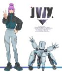 1girl 1other blue_eyes bodysuit brown_footwear commentary_request english_text engrish_text eyebrows_visible_through_hair full_body grey_bodysuit hand_on_hip height_difference highres jacket light_smile original purple_hair ranguage robot science_fiction shoes sidelocks sneakers sora-bakabon standing updo v waving