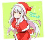 1girl anbutter_siruko blush box capelet christmas closed_mouth eyebrows_visible_through_hair gift gift_box hair_between_eyes hat holding holding_gift kantai_collection long_hair long_sleeves merry_christmas pom_pom_(clothes) red_capelet santa_costume santa_hat shoukaku_(kantai_collection) smile solo twitter_username white_hair yellow_eyes