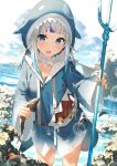 1girl :d absurdres animal animal_hood bangs blue_eyes blue_hoodie blunt_bangs blush breasts clouds cloudy_sky collarbone crab day eyebrows_visible_through_hair feet_out_of_frame fish fish_bone gawr_gura gradient_clothes highres holding holding_animal holding_fish holding_polearm holding_weapon hololive hololive_english hood hoodie lens_flare long_hair long_sleeves looking_at_viewer multicolored_hair open_mouth polearm rock shark_hood silver_hair sky small_breasts smile solo standing streaked_hair trident virtual_youtuber water weapon wet wide_sleeves xkirara39x