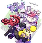 1boy absurdres animal_on_arm bird bird_on_arm black_eyes character_request clenched_hand crossover decepticon highres holding holding_poke_ball kyarara_renan looking_at_viewer looking_to_the_side looking_up mecha megatron no_humans open_hand poke_ball pokemon pokemon_(creature) red_eyes transformers