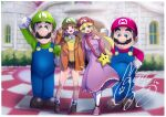 2boys 2girls bag belt black_belt blonde_hair blue_eyes blush brown_footwear brown_hair brown_shorts checkered checkered_floor commentary cosplay dress earrings facial_hair flower_earrings full_body green_headwear green_shirt handbag herunia_kokuoji highres jacket jewelry kigurumi long_hair luigi mario mario_(series) mario_hat mascot multiple_boys multiple_girls mustache orange_jacket outdoors overalls pink_dress pink_footwear princess_daisy princess_peach red_headwear red_shirt round_teeth shirt short_hair shorts signature smile standing starman_(mario) super_nintendo_world teeth v white_legwear yellow_shirt