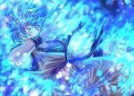 blue_eyes blue_hair dougi dragon_ball dragon_ball_super grey_shirt long_hair mattari_illust shirt short_sleeves son_goku spiky_hair super_saiyan super_saiyan_blue twitter_username v-shaped_eyebrows wristband