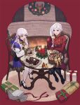 2girls basket breasts byuub candle chair christmas cookie cup edelgard_von_hresvelg fire_emblem fire_emblem:_three_houses fireplace food from_above full_body gift gloves highres indoors lysithea_von_ordelia medium_breasts multiple_girls pink_eyes red_background red_gloves sitting smile table teacup white_hair