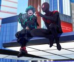 2boys :d black_bodysuit blue_sky bodysuit boku_no_hero_academia building city commentary_request gauntlets gloves green_eyes green_hair highres maemaesp male_focus mask midoriya_izuku miles_morales multiple_boys open_mouth outdoors pointing sitting sky smile spider-man_(series) urban