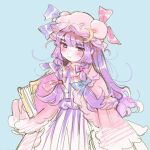 1girl bangs blue_background blue_bow blue_ribbon blush book bow bowtie commentary crescent crescent_moon_pin eyebrows_visible_through_hair hat hat_ribbon imagoimitari long_hair messy_hair mob_cap patchouli_knowledge purple_hair red_bow red_neckwear red_ribbon ribbon robe simple_background sketch smile solo touhou very_long_hair violet_eyes wide_sleeves