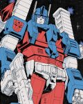 1980s_(style) 1boy autobot blue_eyes casey_w._coller clenched_hand gun highres holding holding_gun holding_weapon insignia looking_at_viewer looking_down male_focus mecha no_humans retro_artstyle science_fiction solo space transformers ultra_magnus weapon