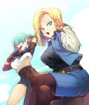 2girls :o android_18 aqua_hair arm_up asymmetrical_clothes bandaid bandaid_on_cheek bandaid_on_face belt biting biting_clothes black_legwear black_shirt blonde_hair blue_eyes blue_skirt blue_sky breasts brown_belt brown_gloves bulma clouds cloudy_sky crossed_legs day denim denim_skirt dragon_ball dragon_ball_(classic) dragon_ball_z dutch_angle elbow_pads eyebrows_visible_through_hair eyelashes facing_viewer feet_out_of_frame gloves hand_in_hair hand_on_own_leg hand_up impossible_clothes large_breasts long_hair looking_afar looking_at_viewer looking_down multiple_girls ommmyoh open_mouth outdoors pants pantyhose rock shaded_face shiny shiny_hair shirt shirt_tucked_in short_hair single_pantsleg sitting sitting_on_rock skirt sky straight_hair striped striped_shirt teeth thighs upper_teeth waistcoat white_shirt