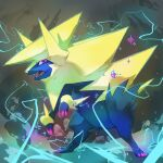 alternate_color claws commentary creature electricity english_commentary fangs full_body gen_3_pokemon manectric mega_manectric mega_pokemon no_humans pinkgermy pokemon pokemon_(creature) shiny_pokemon signature solo sparkle violet_eyes