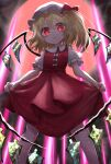 1girl blonde_hair bright_pupils commentary_request expressionless eyebrows_visible_through_hair feet_out_of_frame flandre_scarlet from_below full_moon hair_between_eyes hat hat_ribbon head_tilt highres kayon_(touzoku) legs_apart lifted_by_self light_beam looking_at_viewer mob_cap moon no_neckwear one_side_up parted_lips pointy_ears puffy_short_sleeves puffy_sleeves red_eyes red_moon red_skirt red_vest ribbon shirt short_hair short_sleeves skirt skirt_lift slit_pupils solo standing touhou vest white_headwear white_pupils white_shirt wings